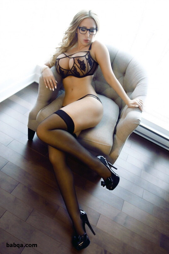hot lingerie blonde and wife in stockings and heels