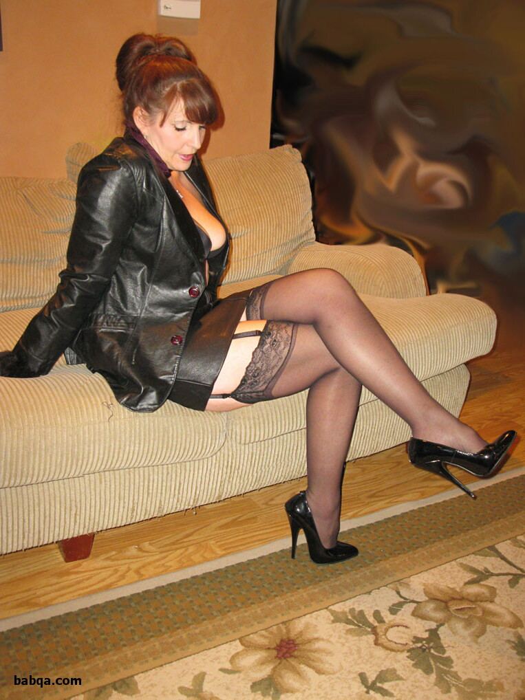 matures in stockings and suspenders and bonds and office