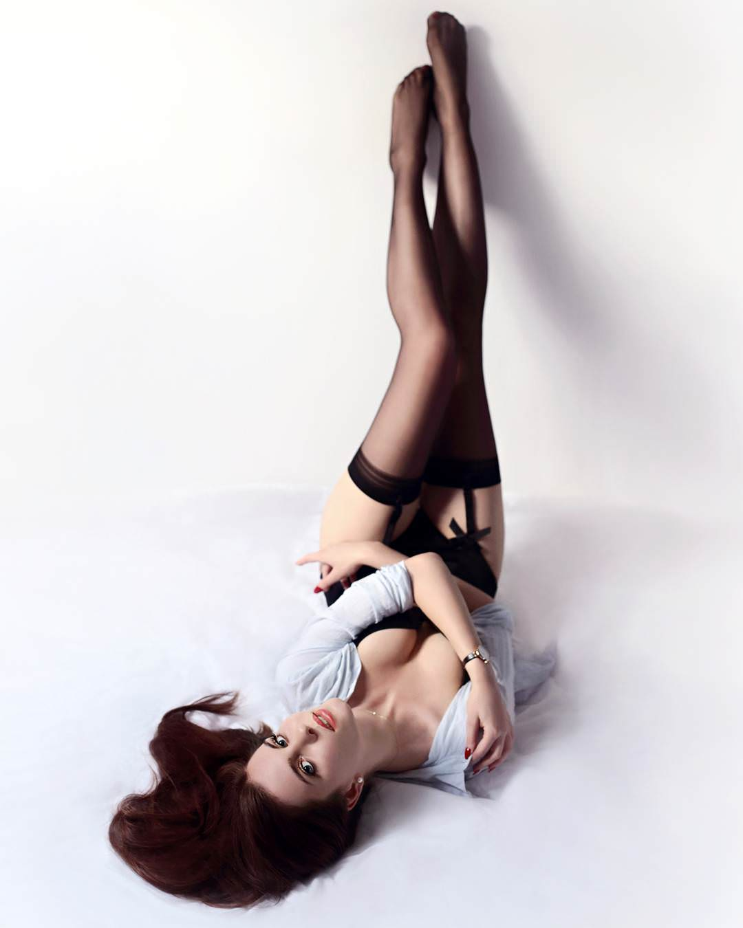 black stocking babes and party dress with stockings