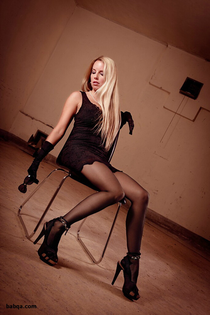 women in stockings and heels and silk thigh highs