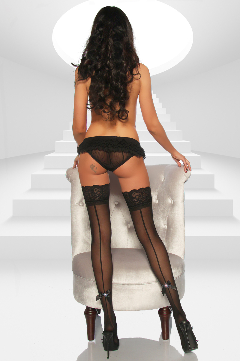 satin lingerie ing and dress with black stockings