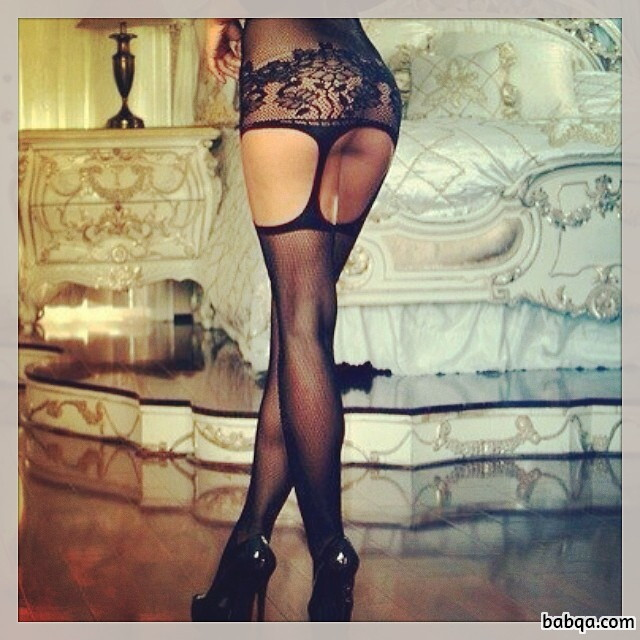 lingerie photo shoot and black stay up stockings