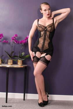 blonde sheer lingerie and domina outfit